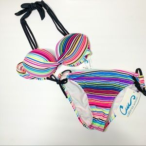 California Waves Striped Push Up Bikini Set
